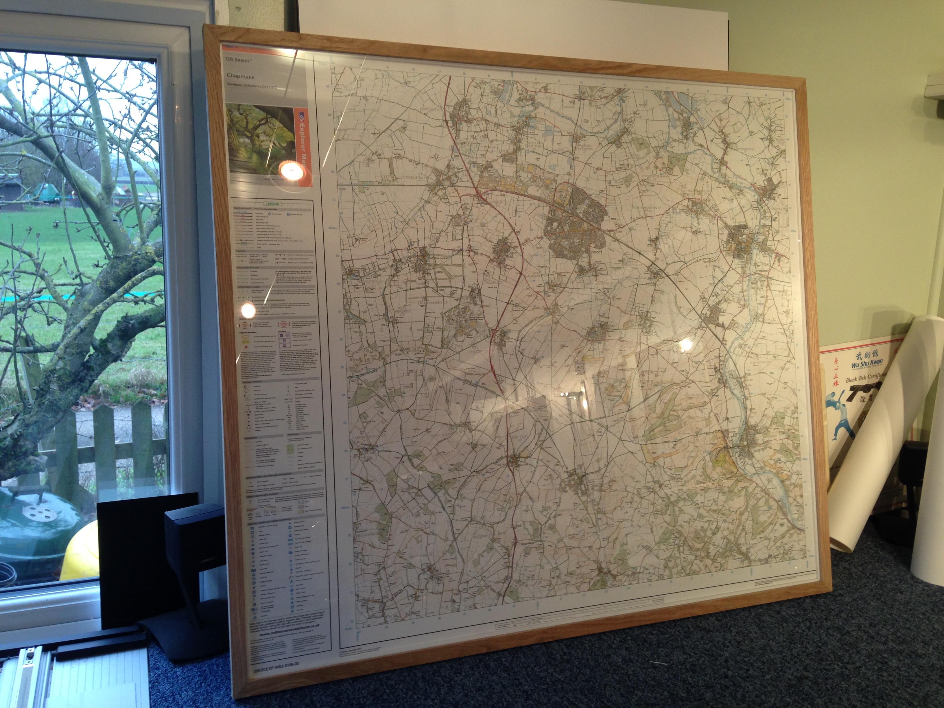 OS Map in an Oak frame | Lancaster Framing